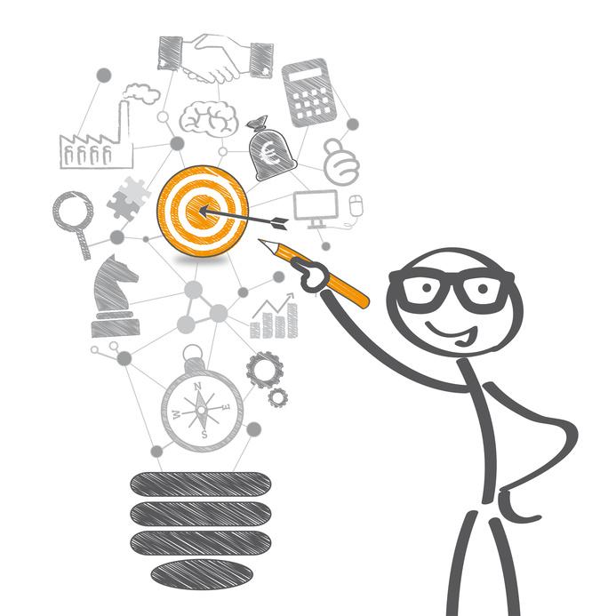 Ziele, erreichen, Geschäftsidee, Ideen, Zielgruppe, Pfeil, Zielscheibe, Strategie, Verkauf, Handel, Markt, Wirtschaft, Kunden, Analyse, Trend, Werbung, Budget, Investment, Richtung, Vision, Glühbirne, Zeichnung, Planung, erfolgreich, Ideenskizze, Lösung, Geschäft, Kompass, Produkt, Motivation, Geschäftsmann, Businessplan, Trueffelpix, Geschäftsplan, Konzept, Kooperation, Partnerschaft, Team, Strichmännchen